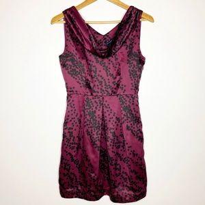 Banana Republic Purple Dot Drape Neck Sheath Dress